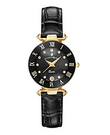 Jacques Du Manoir Ladies' Black Genuine Leather Strap with Goldtone Case and Black Dial with Diamond Markers, 26mm