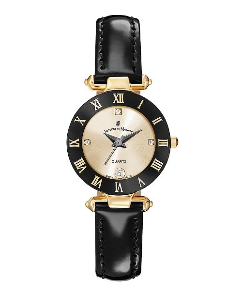 Jaques Du Manoir Jacques Du Manoir Ladies' Black Genuine Leather Strap with Goldtone Case and Black and Goldtone Dial, 26mm