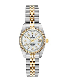 Jacques Du Manoir Ladies' Two Tone Silver or Gold Yellow Stainless Steel Bracelet with Twotone Case and Mother of Pearl Dial and Diamond Markers and Bezel, 26mm
