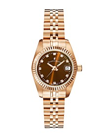 Jacques Du Manoir Ladies' Rose Gold Stainless Steel Bracelet with Rosegoldtone Case with Brown Sunray Dial and Diamond Markers, 26mm