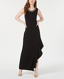 Petite Ruffled Asymmetrical Gown