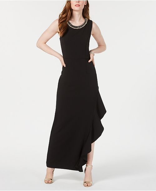 Connected Petite Ruffled Asymmetrical Gown