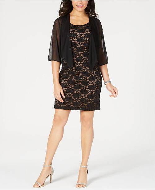 Connected Petite Chiffon Jacket & Lace Sheath Dress