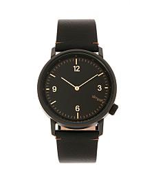 Simplify Quartz The 5500 Black Dial, Genuine Black Leather Watch 41mm