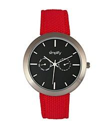 Quartz The 6100 Black Dial, Canvas-Overlaid Polyurethane Red Strap Watch 43mm