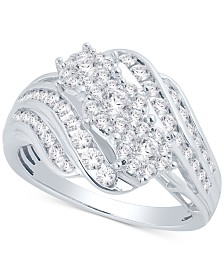 Diamond Three-Stone Cluster Ring (1 ct. t.w.)