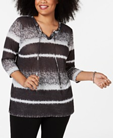 JM Collection Plus Size Striped Metallic Top, Created for Macy's