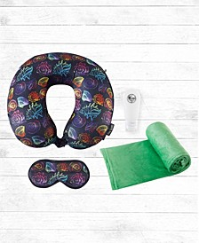 Coastal Haven 4-PC Memory Foam Travel Neck Pillow, Blanket and Bottles Set