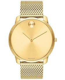 Men's Swiss Bold Gold Ion-Plated Stainless Steel Mesh Bracelet Watch 42mm