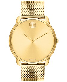 Movado Men's Swiss Bold Gold Ion-Plated Stainless Steel Mesh Bracelet Watch 42mm