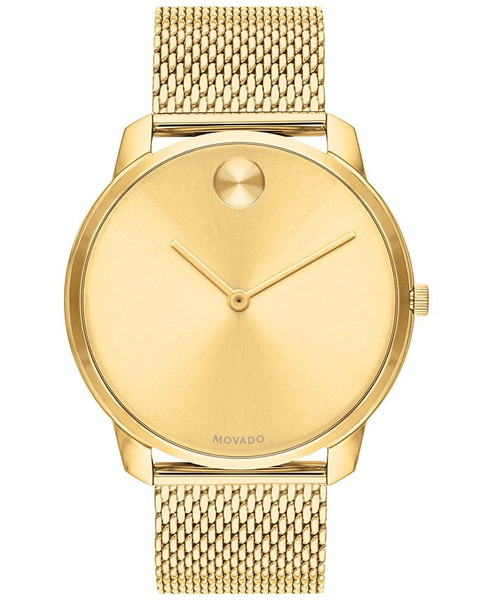 Movado - Men's Swiss Bold Gold Ion-Plated Stainless Steel Mesh Bracelet Watch 42mm
