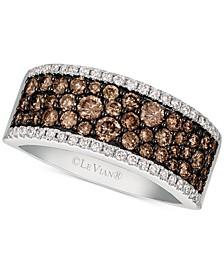 Chocolatier® Chocolate & Vanilla Diamond (1-1/6 ct. t.w.) Band in 14k White Gold