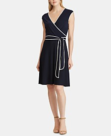 Lauren Ralph Lauren Petite Two-Tone Belted Jersey Dress