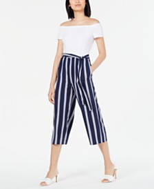 Maison Jules Off-The-Shoulder Cropped Jumpsuit, Created for Macy's