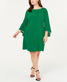 MSK Plus Size Rhinestone-Trim Bell-Sleeve Dress