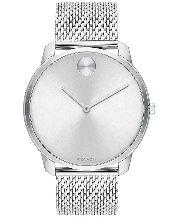Movado Men's Swiss Bold Stainless Steel Mesh Bracelet Watch 42mm