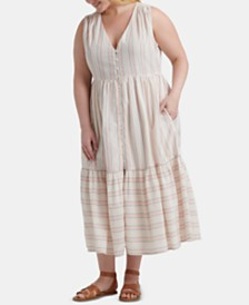 Lucky Brand Plus Size Luna Button Through Striped Dress