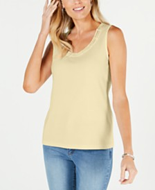 Karen Scott Stud-Trim Ladder-Neck Top, Created for Macy's