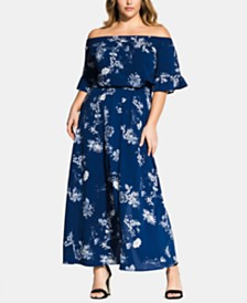 City Chic Plus Size Sapphire Garden Maxi Dress