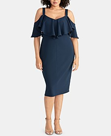 Plus Size Marcella Flounce Cold-Shoulder Dress