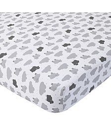 100% Cotton Sateen Fitted Crib Sheet - Sheep Cloud