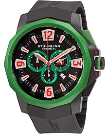 Stainless Steel Black PVD Case on Black High Grade Silicon Rubber Strap, Black Dial, Green Bezel, with Silver Tone, Red, and Green Accents