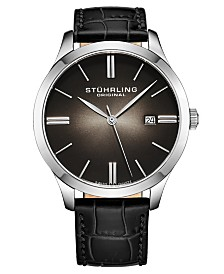 Stuhrling Stainless Steel Case on Black Alligator Embossed Genuine Leather Strap, Black Dial, with Silver Accents