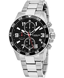 Men's Japan Chronograph Bracelet Watch, Silver Tone Case on Silver Tone Brushed and Polished Link Bracelet, Black Dial, with Silver Tone, White, and Red Accents