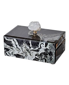Black Marbled Jewelry Case, Medium