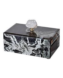 Black Marbled Jewelry Case, Medium