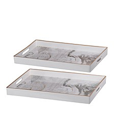 Effra Rectangular Trays, Marbled, Set of 2
