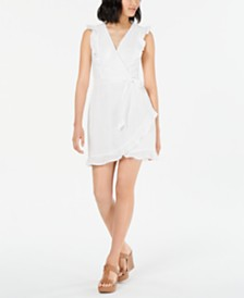 Bar III Eyelet-Lace Ruffled Faux-Wrap Mini Dress, Created for Macy's