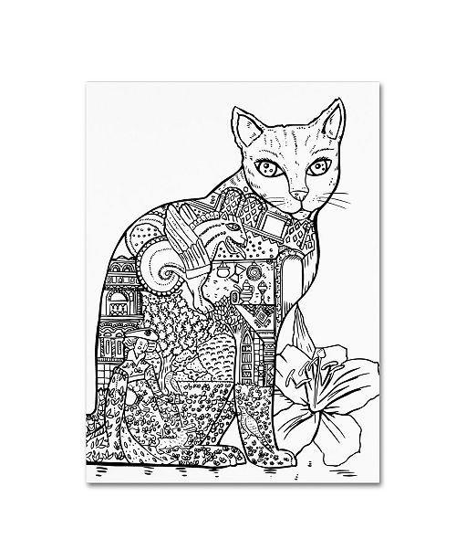 "Trademark Global Oxana Ziaka 'Cat 2' Canvas Art - 32"" x 24"" x 2"""