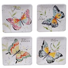 Certified International Spring Meadows 4-Pc. Square Canape Plate