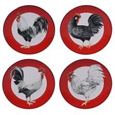 Certified International Homestead Rooster 4-Pc. Dessert Plate