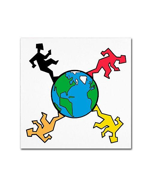 "Trademark Global Miguel Balbas 'Around The World' Canvas Art - 14"" x 14"" x 2"""