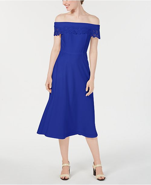 Calvin Klein Off-The-Shoulder Eyelet Fit & Flare Dress