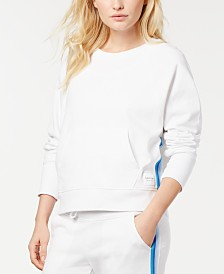 Calvin Klein Performance Ombré-Stripe Cropped Sweatshirt