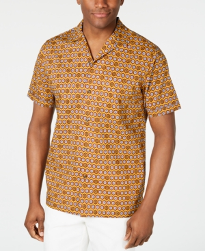 1960s Men's Clothing, 70s Men's Fashion Tasso Elba Mens Medallion-Print Camp Collar Silk Shirt Created for Macys $14.83 AT vintagedancer.com
