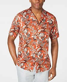 Men's Floral-Print Camp Collar Silk Shirt, Created for Macy's