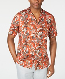 Tasso Elba Men's Floral-Print Camp Collar Silk Shirt, Created for Macy's