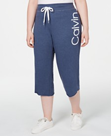 Calvin Klein Performance Plus Size Logo Flared Cropped Pants