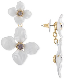 Gold-Tone Crystal Flower Double Drop Earrings
