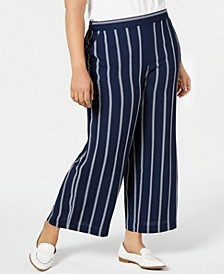 Plus Size Striped Pull-On Pants, Created for Macy's