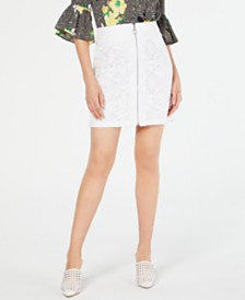 I.N.C. Lace O-Ring Zipper-Front Skirt, Created for Macy's