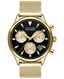 Men's Swiss Chronograph Heritage Gold Ion-Plated Stainless Steel Mesh Bracelet Watch 43mm