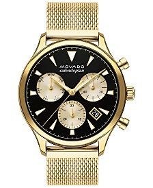 Movado Men's Swiss Chronograph Heritage Gold Ion-Plated Stainless Steel Mesh Bracelet Watch 43mm
