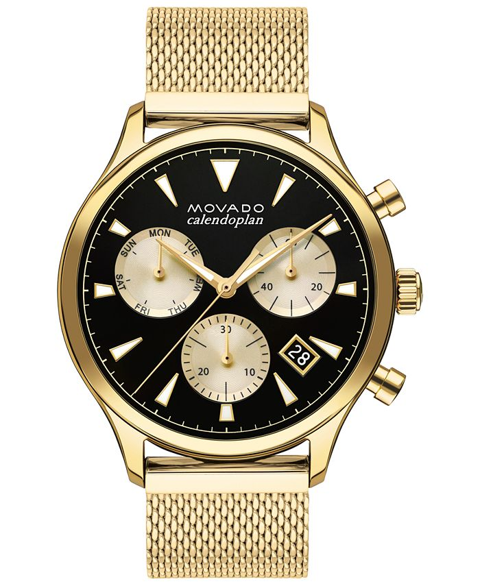 Movado - Men's Swiss Chronograph Heritage Gold Ion-Plated Stainless Steel Mesh Bracelet Watch 43mm