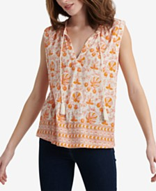 Lucky Brand Woodblock Printed Split-Neck Top