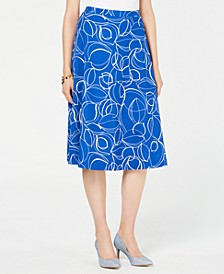 Petite Printed Midi Skirt, Created for Macy's